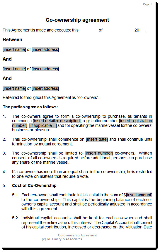 Transfer Of Ownership Agreement Co Ownership Agreement Template for Aircraft or Boat