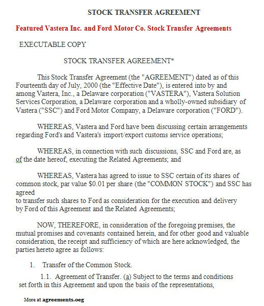 Transfer Of Ownership Agreement Stock Transfer Agreement Sample Stock Transfer Agreement