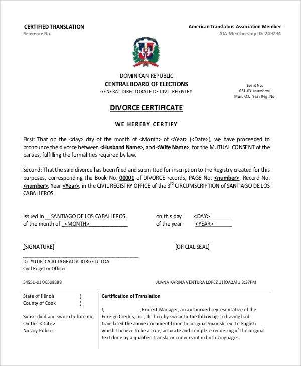Translation Of Divorce Certificate Template 11 Divorce Certificate Templates