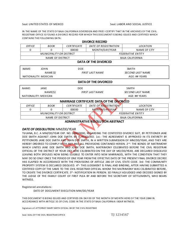Translation Of Divorce Certificate Template Divorce Decree Translation Pdf