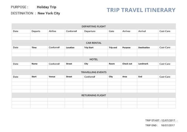 Travel Itinerary Template Google Docs 33 Travel Itinerary Templates Doc Pdf Apple Pages