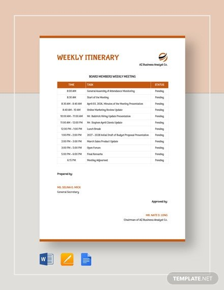 Travel Itinerary Template Google Docs 38 Free Itinerary Templates In Google Docs [download now