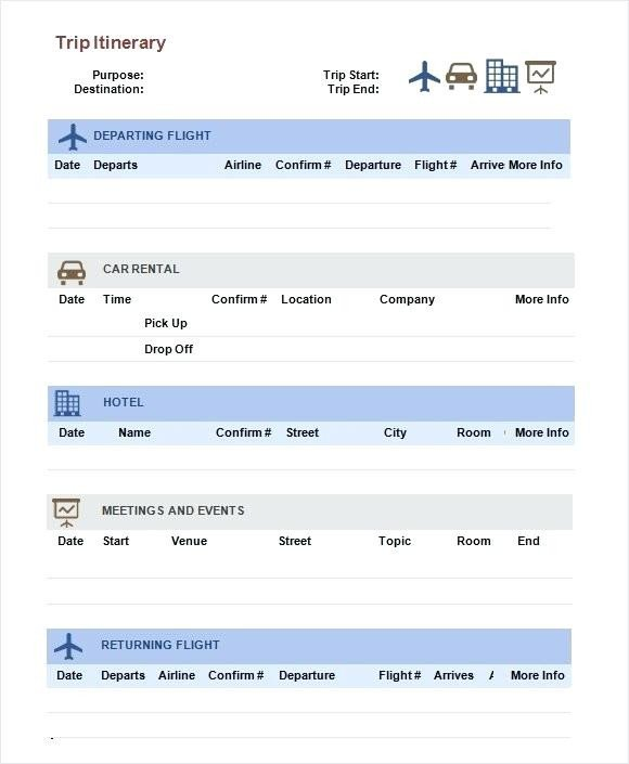 Travel Itinerary Template Google Docs Free Itinerary Templates Business Travel Template Google