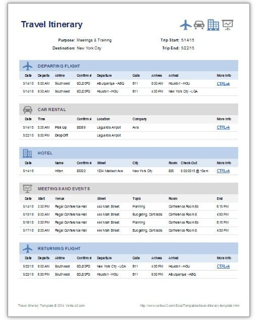 Travel Itinerary Template Google Docs