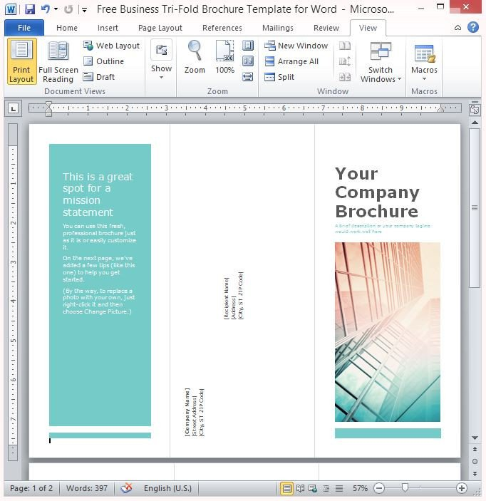 Tri Fold Brochure Template Free Free Business Tri Fold Brochure Template for Word