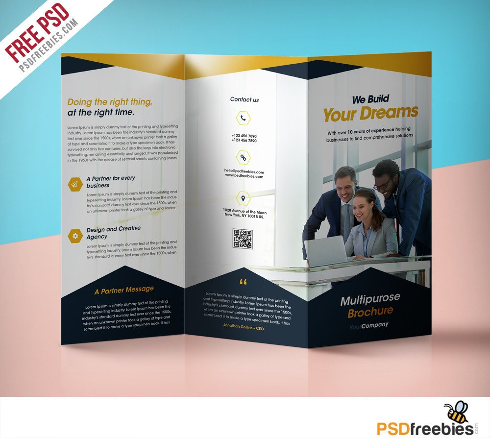 Tri Fold Brochure Template Free Professional Corporate Tri Fold Brochure Free Psd Template
