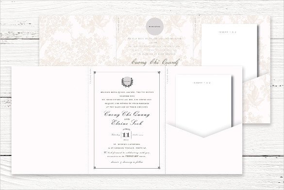 12 Tri Fold Wedding Invitation Templates PSD