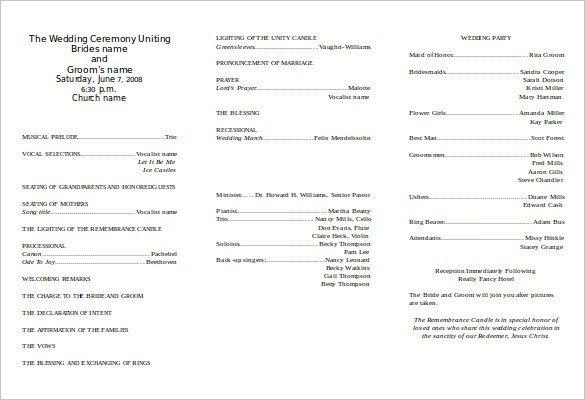 Tri Fold Wedding Program Template 8 Word Wedding Program Templates Free Download