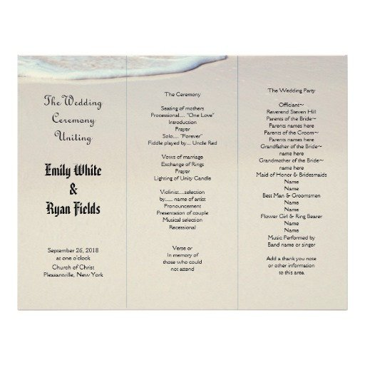 Beach Sand Tri Fold Wedding Program Template Letterhead