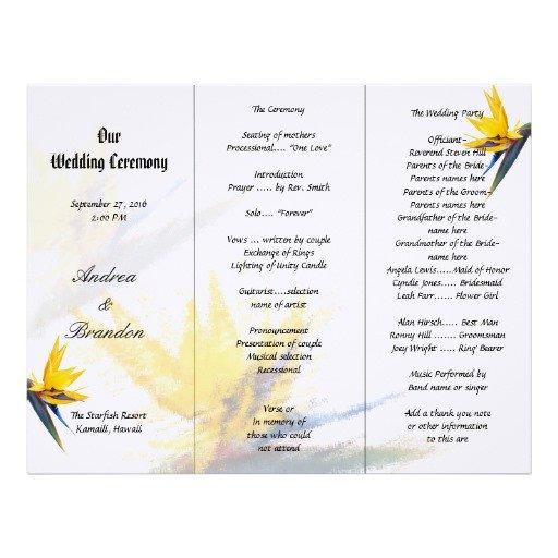 Tri Fold Wedding Program Template Bird Of Paradise Tri Fold Wedding Program Template