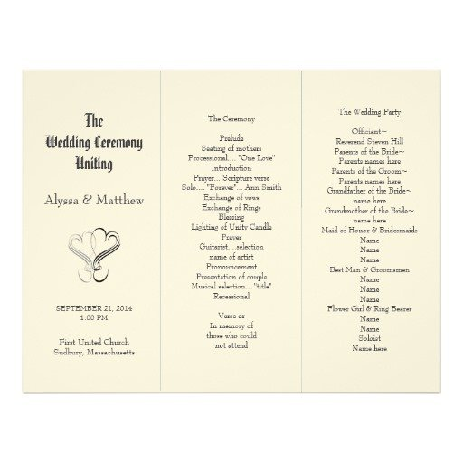 Tri Fold Wedding Program Template Blush Tri Fold Two Hearts Wedding Program Template