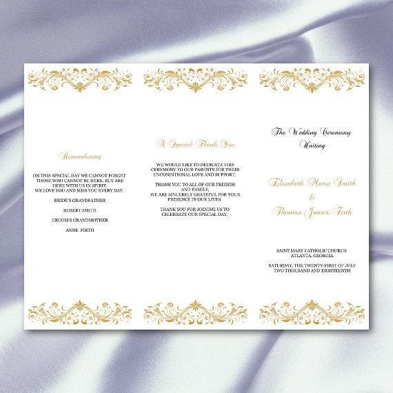 Tri Fold Wedding Program Template Gold Wedding Program Template Diy Tri Fold Ceremony Programs