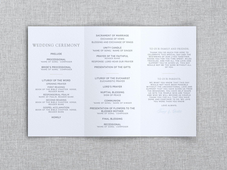 Tri Fold Wedding Program Template Just My Type Wedding Tri Fold Wedding Program Template