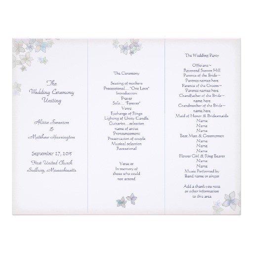 Tri Fold Wedding Program Template Lavender Art Tri Fold Wedding Program Template Letterhead