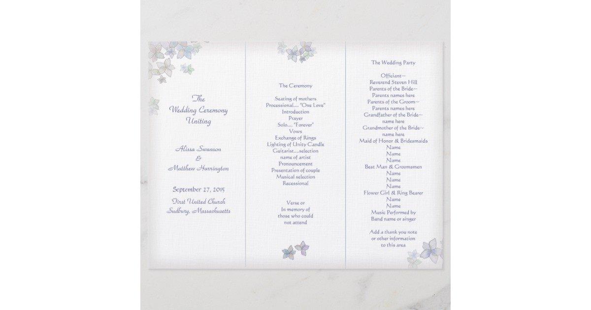 Tri Fold Wedding Program Template Lavender Art Tri Fold Wedding Program Template