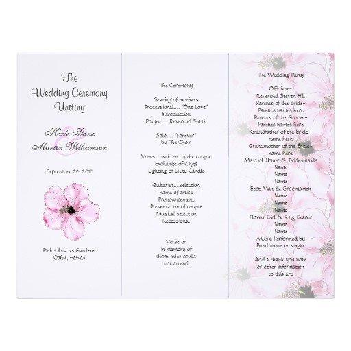 Tri Fold Wedding Program Template Pink Hibiscus Tri Fold Wedding Program Templates