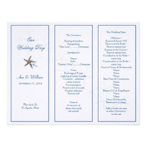 Tri Fold Wedding Program Template Starfish Couple Tri Fold Wedding Program Template