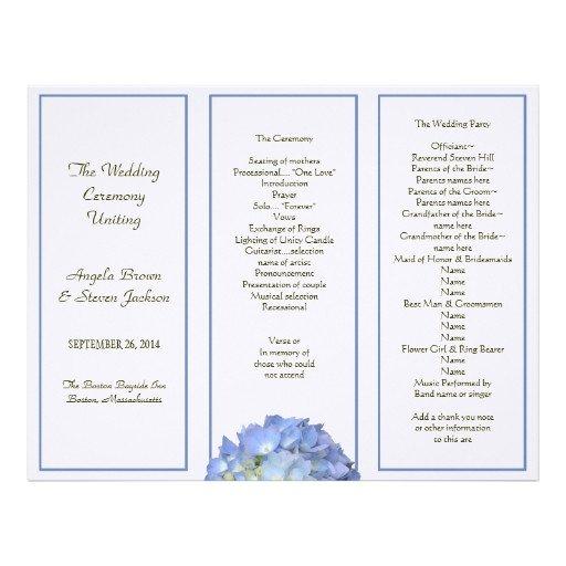 Tri Fold Wedding Program Template Tri Fold Blue Hydrangea Wedding Program Letterhead