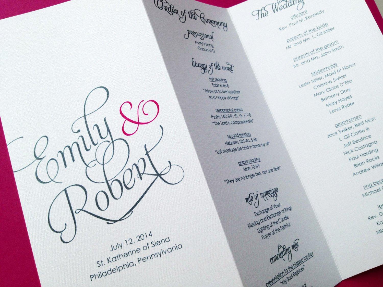 Tri Fold Wedding Program Template Wedding Programs Trifold Wedding Programs by