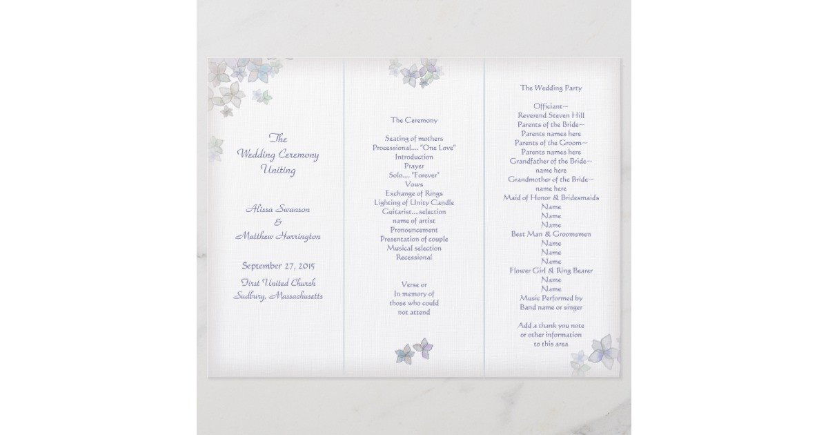 Tri Fold Wedding Programs Templates Lavender Art Tri Fold Wedding Program Template