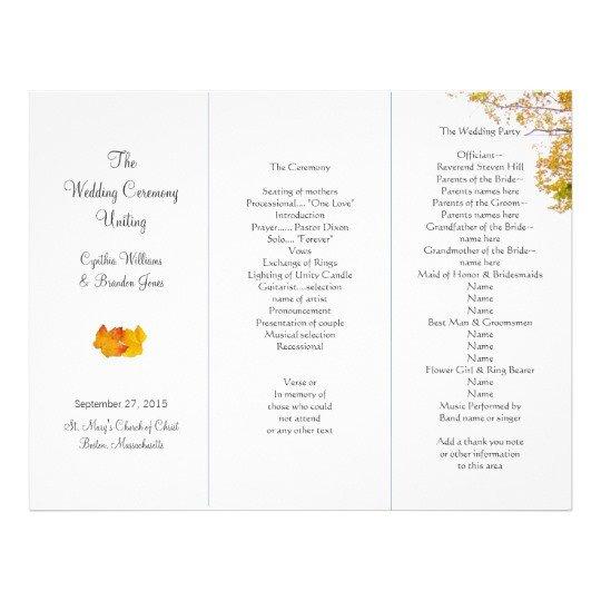 Tri Fold Wedding Programs Templates Our Tree Tri Fold Wedding Program Template