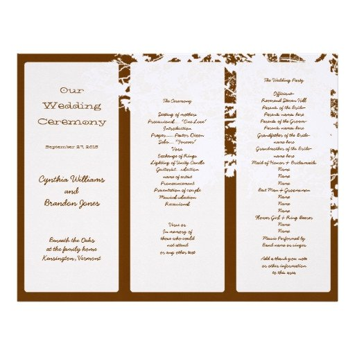 Tri Fold Wedding Programs Templates Out Tree Brown Tri Fold Wedding Program Template