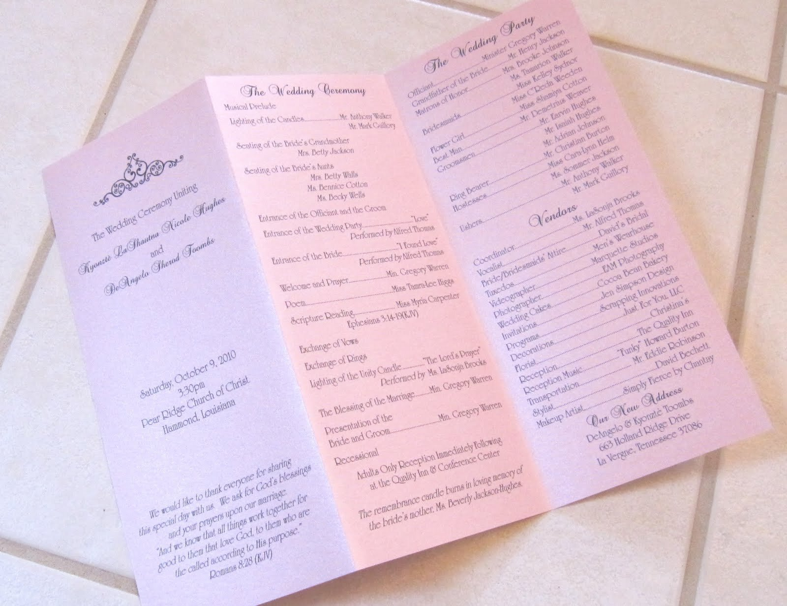 Tri Fold Wedding Programs Templates Scrapping Innovations Kyonztè and Deangelo Tri Fold