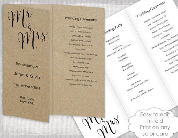 Tri Fold Wedding Programs Templates Wedding Programs Template Trifold Rustic Bombshell