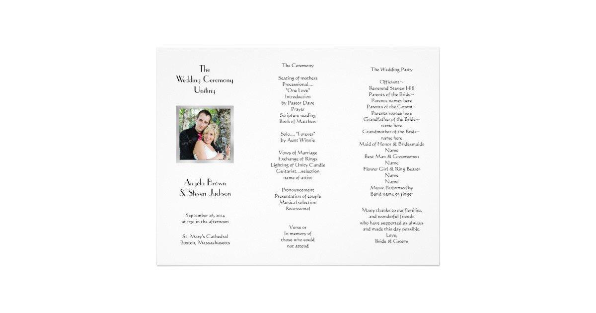 Tri Fold Wedding Programs Templates White Tri Fold Template Wedding Program Letterhead