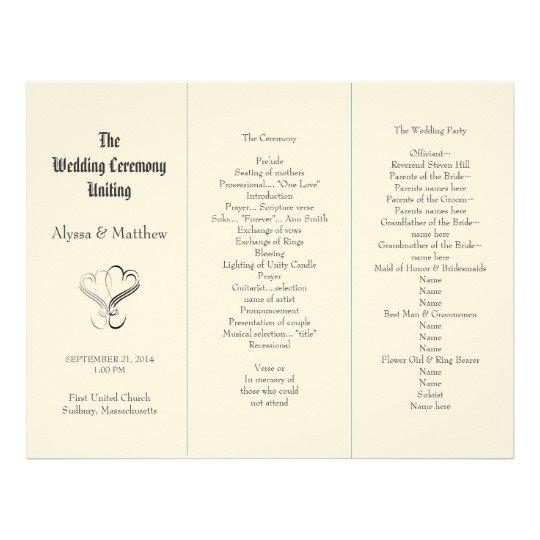 Trifold Wedding Program Template Blush Tri Fold Two Hearts Wedding Program Template