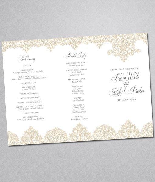 Trifold Wedding Program Template Diy Pearls and Lace Wedding Program Tri Fold Template