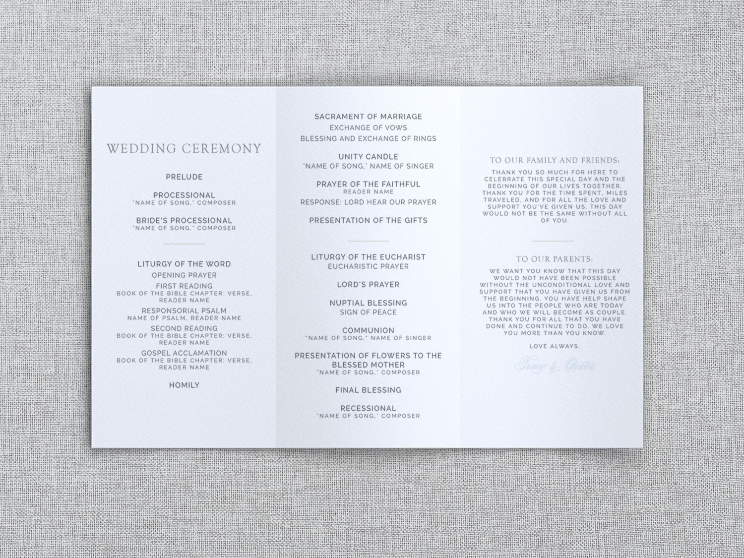 Trifold Wedding Program Template Just My Type Wedding Tri Fold Wedding Program Template