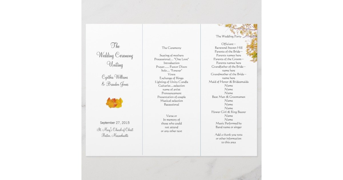 Trifold Wedding Program Template Our Tree Tri Fold Wedding Program Template