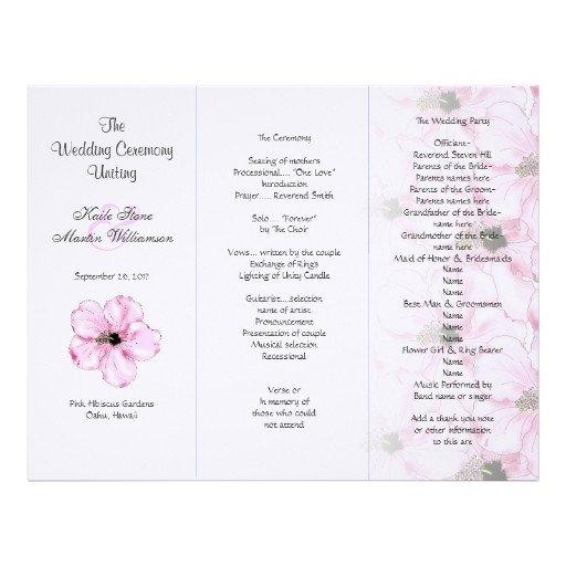 Trifold Wedding Program Template Pink Hibiscus Tri Fold Wedding Program Templates