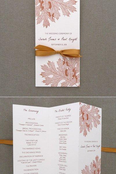 Trifold Wedding Program Template Program Template – Tri Fold Fall Leaves – Download & Print