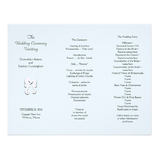 Trifold Wedding Program Template Sea Horse Tri Fold Wedding Program Template Letterhead