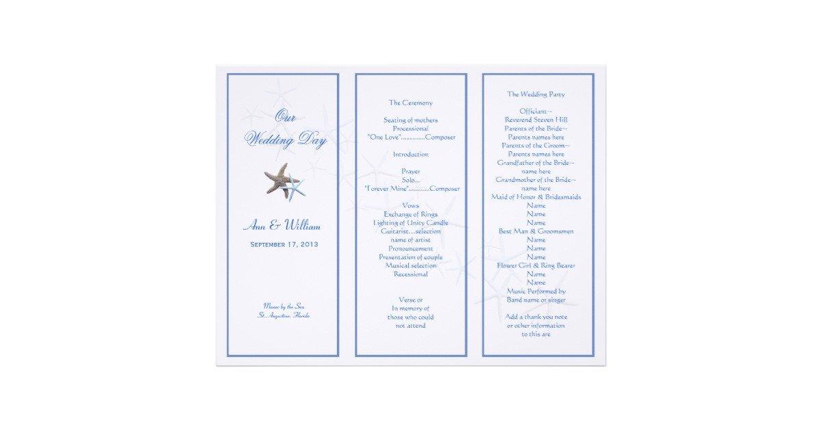 Trifold Wedding Program Template Starfish Couple Tri Fold Wedding Program Template