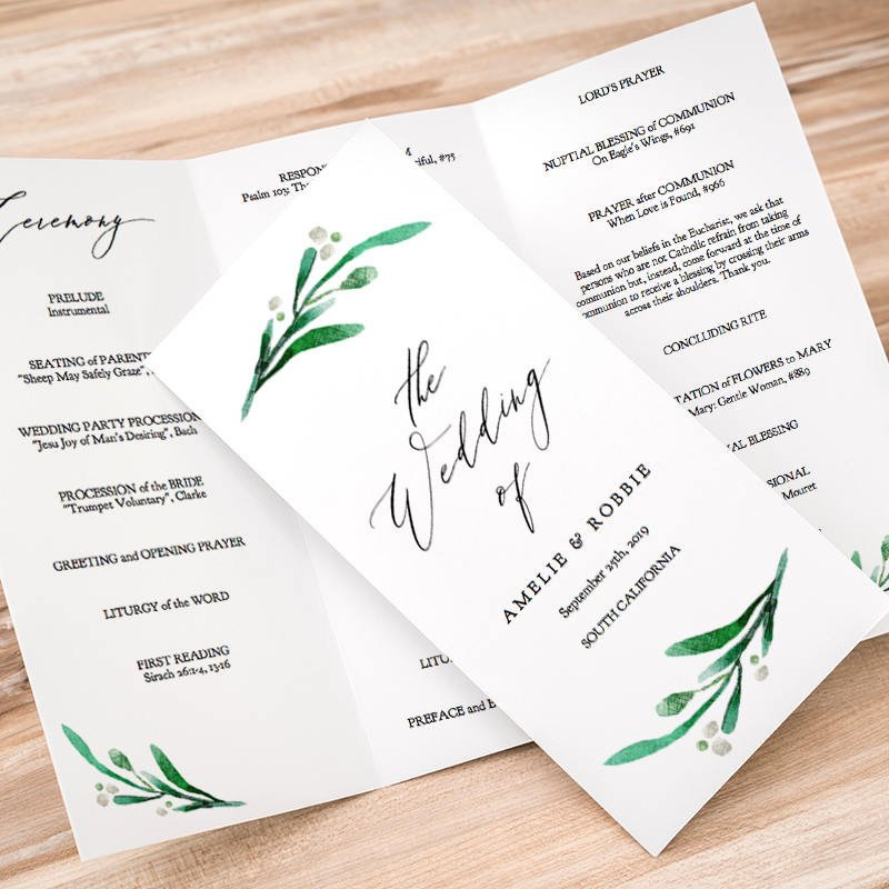 Trifold Wedding Program Template Trifold Wedding Program Printable Template Folded order Of