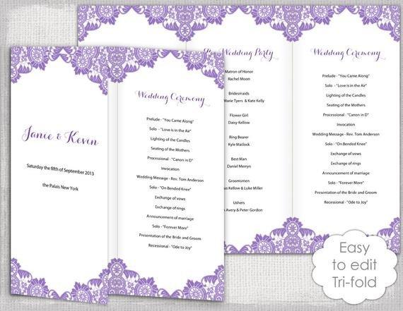 Trifold Wedding Program Template Trifold Wedding Program Template Antique Lace