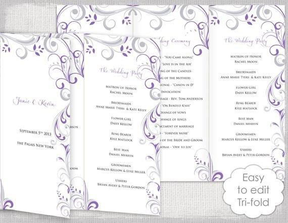 Trifold Wedding Program Template Trifold Wedding Program Template Wisteria and Silver