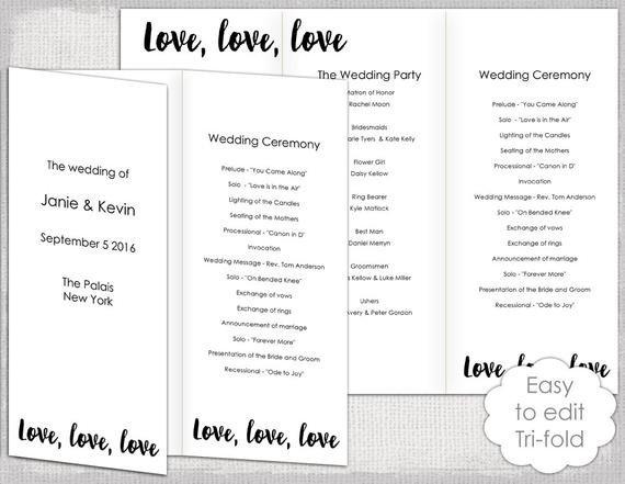 Trifold Wedding Program Template Wedding Program Template Trifold Love Love Love