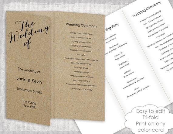 Trifold Wedding Program Template Wedding Programs Instant Template Trifold Calligraphy