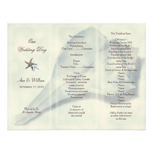 Trifold Wedding Program Template Whelk Shell Tri Fold Wedding Program Template Letterhead