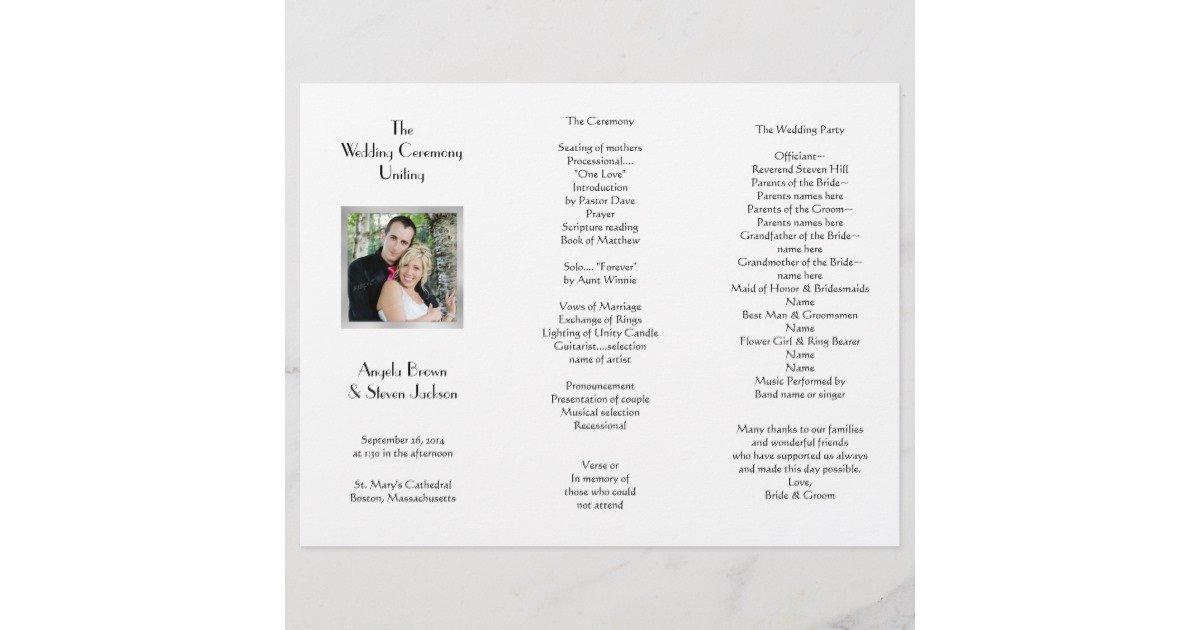 Trifold Wedding Program Template White Tri Fold Template Wedding Program