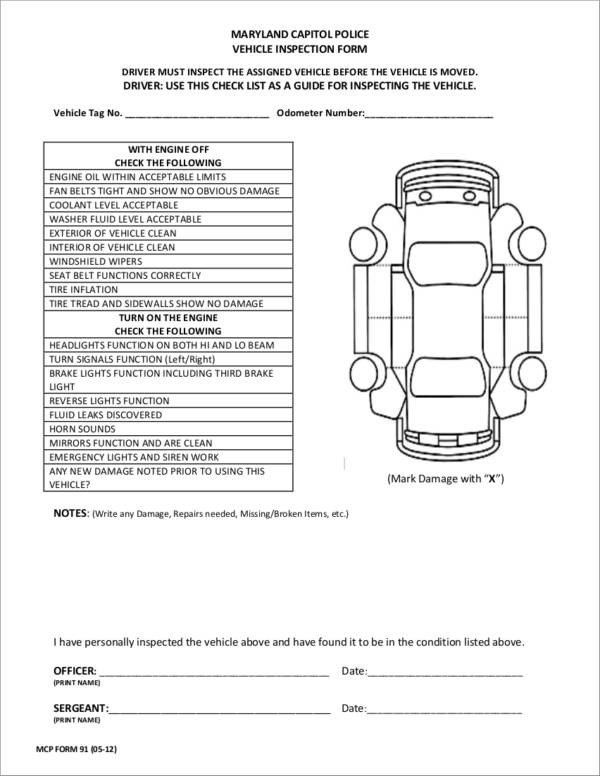 Truck Inspection form Template 21 Vehicle Checklist Samples & Templates Pdf Word format