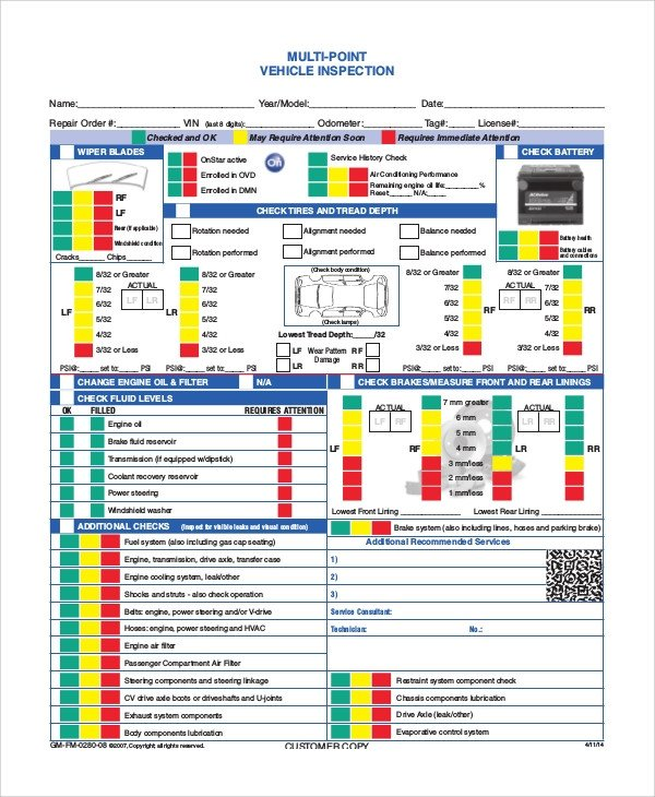 Truck Inspection form Template 8 Vehicle Inspection forms Pdf Word