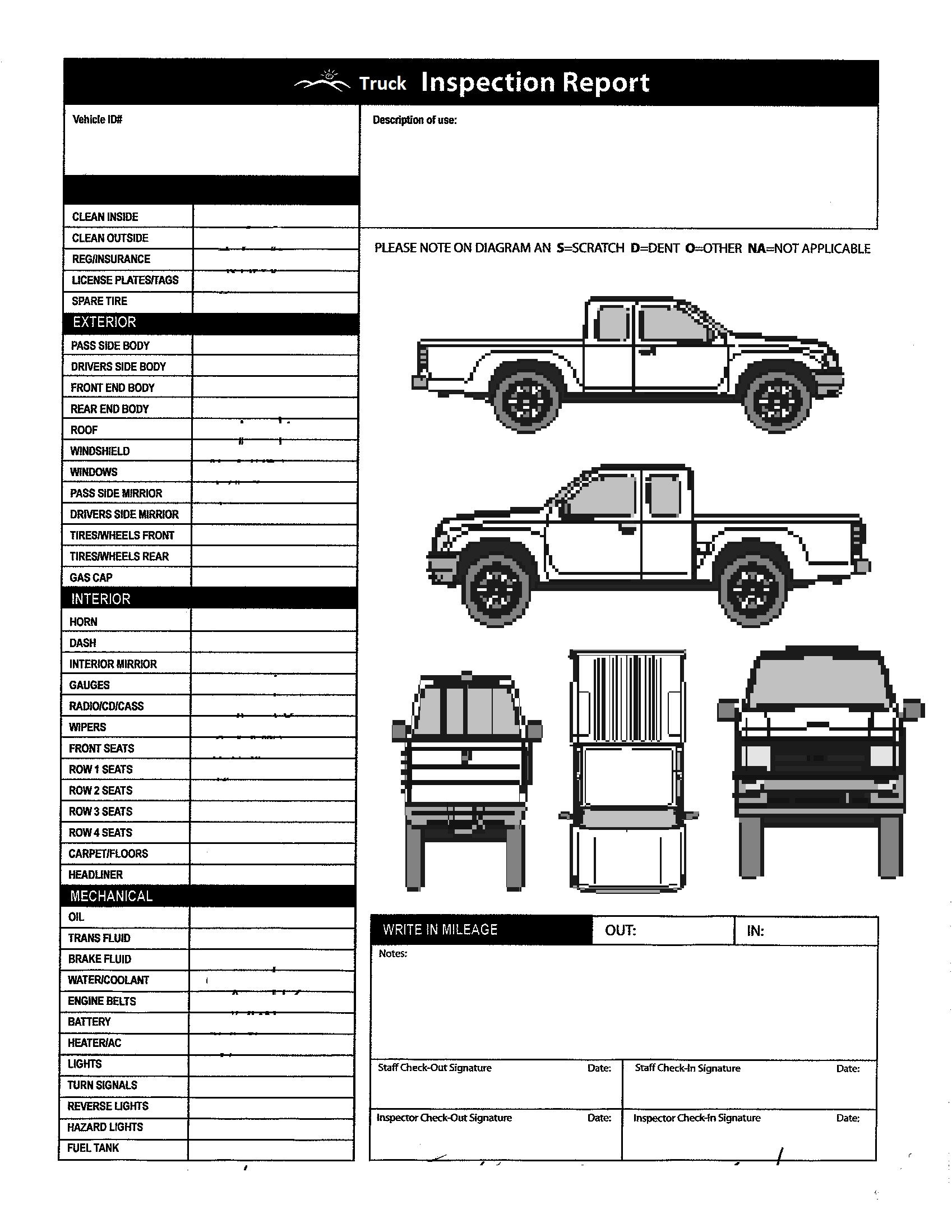 Truck Inspection form Template Vehicle Inspection form Template