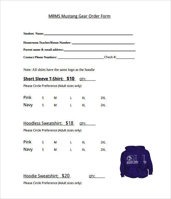 Tshirt order form Template 26 T Shirt order form Templates Pdf Doc