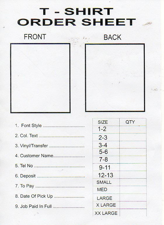 Tshirt order form Template Printable T Shirt order form Template