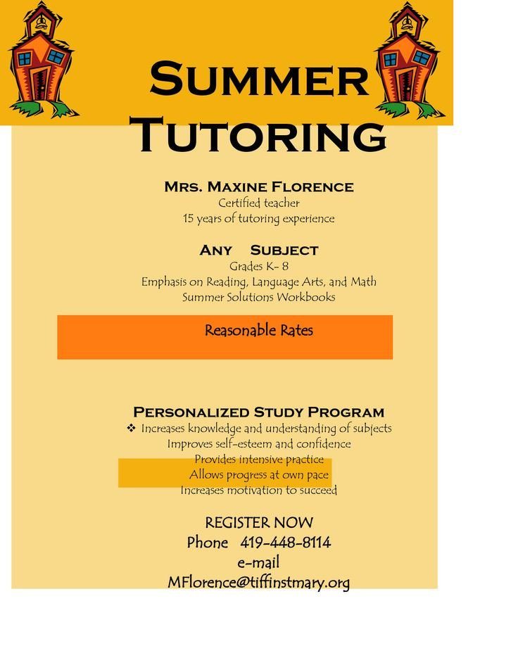 Tutoring Flyers Template Free Flyer for Tutoring Services